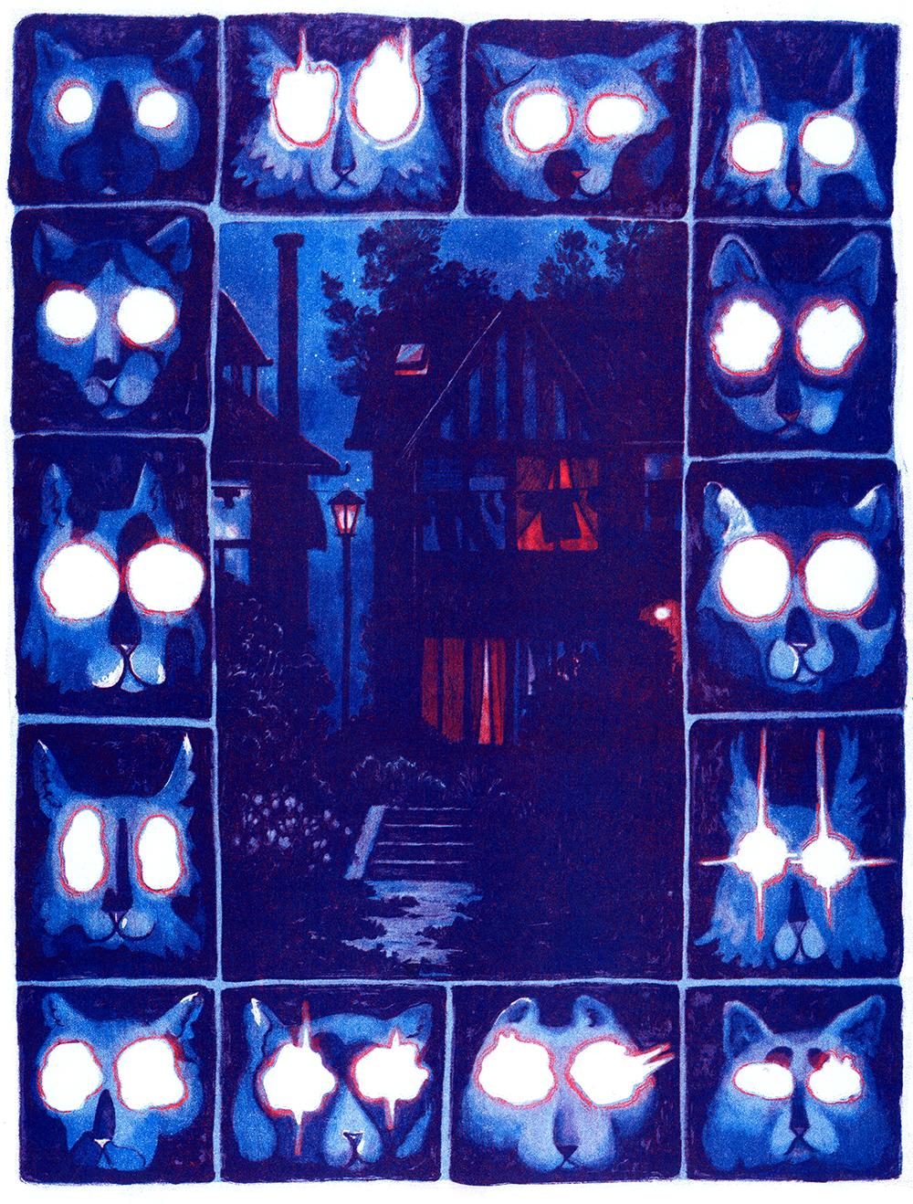 Lights on Bain. 11x17. 3 Colour Risograph. $20 + Shipping