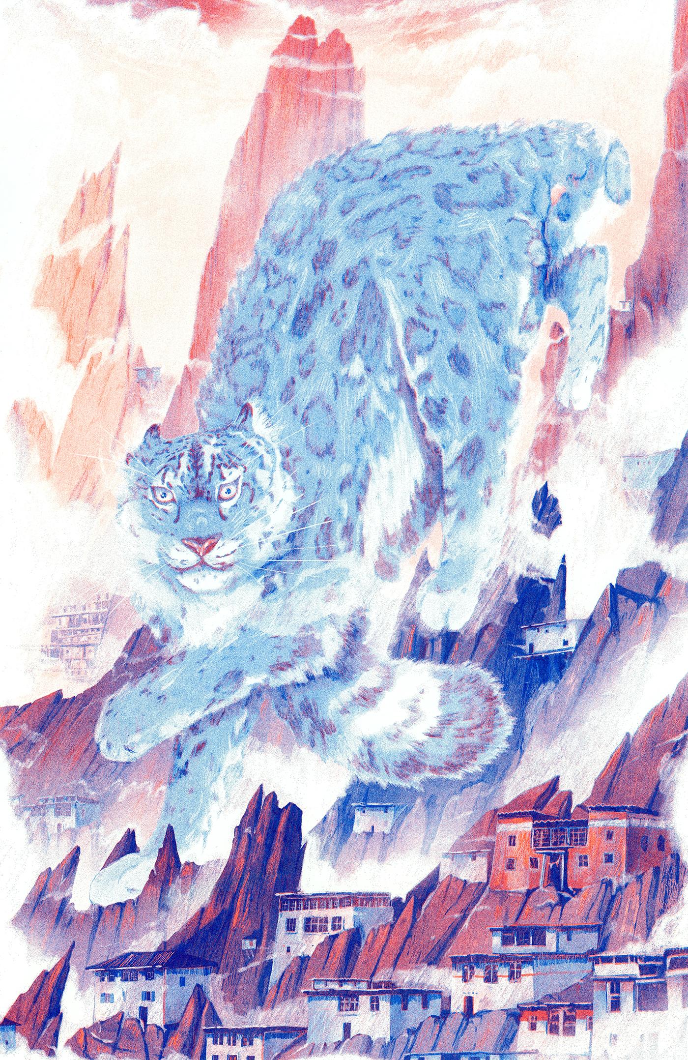 Snow Leopard. 11x17. 2 Colour Risograph. $20 + Shipping