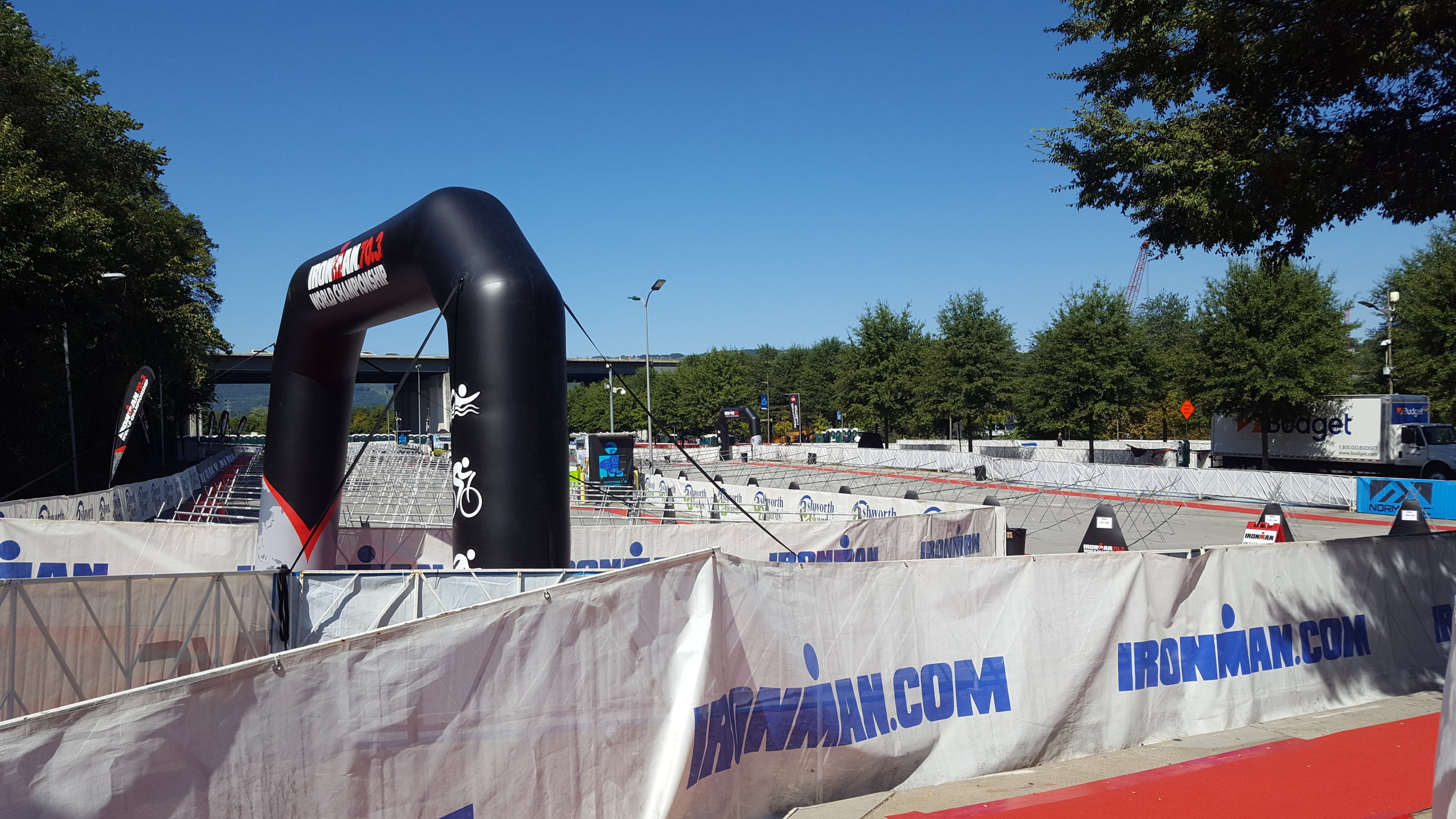 The transition area before it was full! There were two separate areas for men and women.
