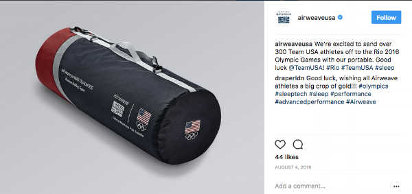Airweave has developed a mattress for Team USA to promote recovery on the road