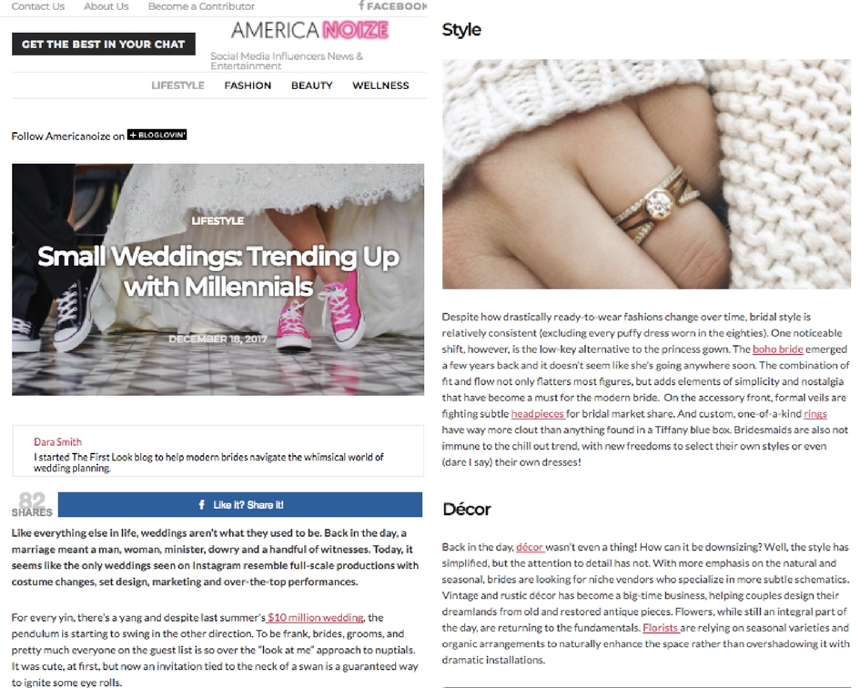 AmericaNoize.com - Small Weddings: Trending Up with MillennialsLifestyle Column