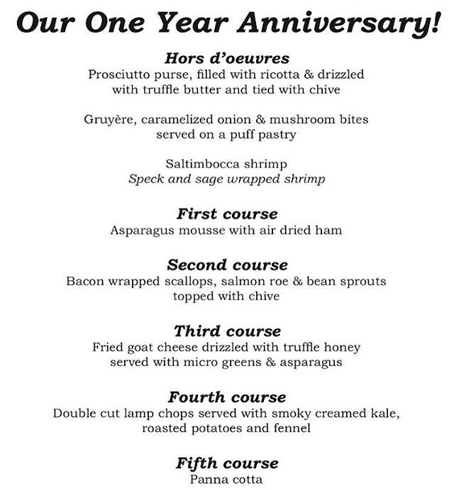 It's official!! The menu for our next fine dining night on 3/24/18 celebrating our one year anniversary!! #oneyearanniversary  #vcgourmet #inlandempire #easthighland #redlands #highlandca #iefoodie #inlandempireexplorer #forkreport #chefmode #ForTheChefs #chefsofinstagram #chefsoninstagram #LAchefs #lafoodies #cheflife #eaterla #latimesfood #zagat #spoonfeed #foodbeast #thisisinsider #insiderfood #eatfamous #buzzfeast #mychefstable #finediningnight #lorenziestatewines