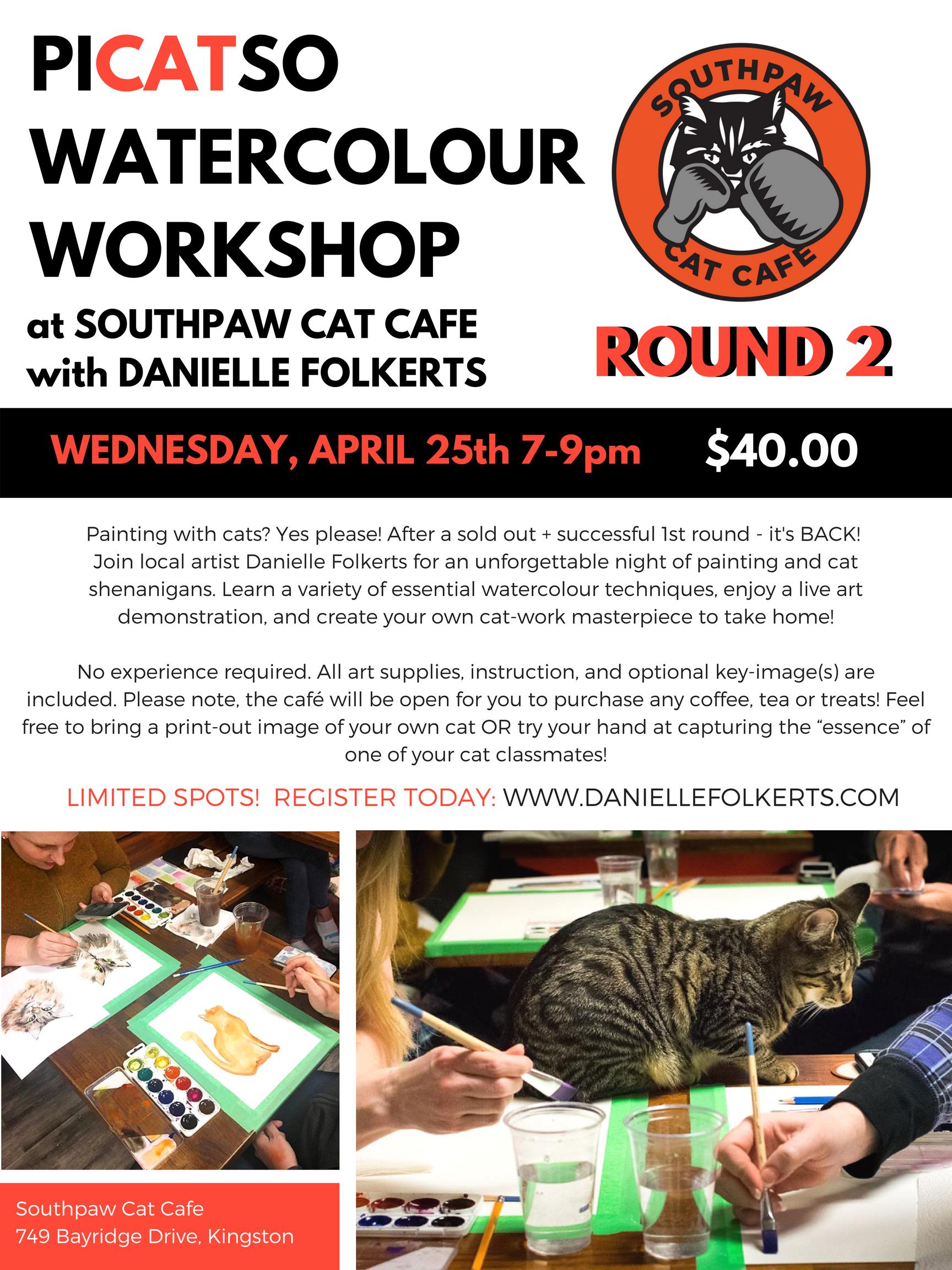 cat cafe painting workshop