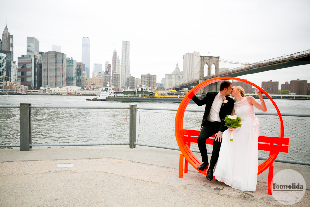Manhattan skyline with Brooklyn bridge wedding photo