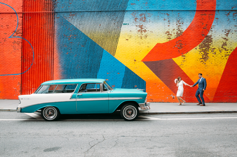 Brooklyn wedding photo with classic car