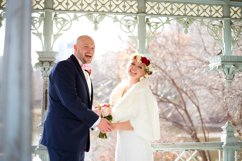 Winter wedding at Ladies Pavilion in Central Park
