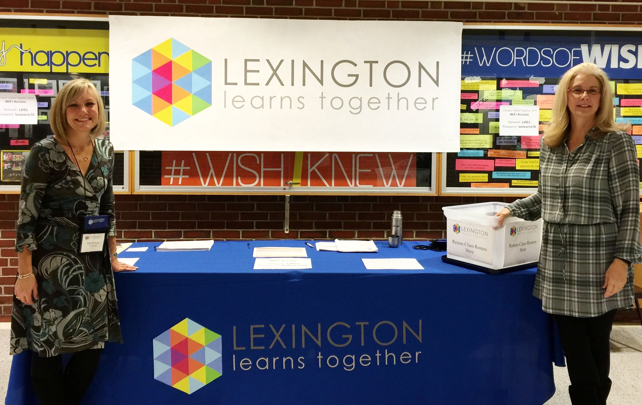 Welcoming faculty at the annual Lexington Learns Together event created to encourage staff to share their learnings and insights. Many of the faculty presenters are sharing with colleagues the knowledge and teaching approaches they developed with LEF funded grants.