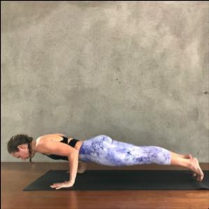 4-Limbled Staff Pose (Chaturanga Dandasana)Exhale