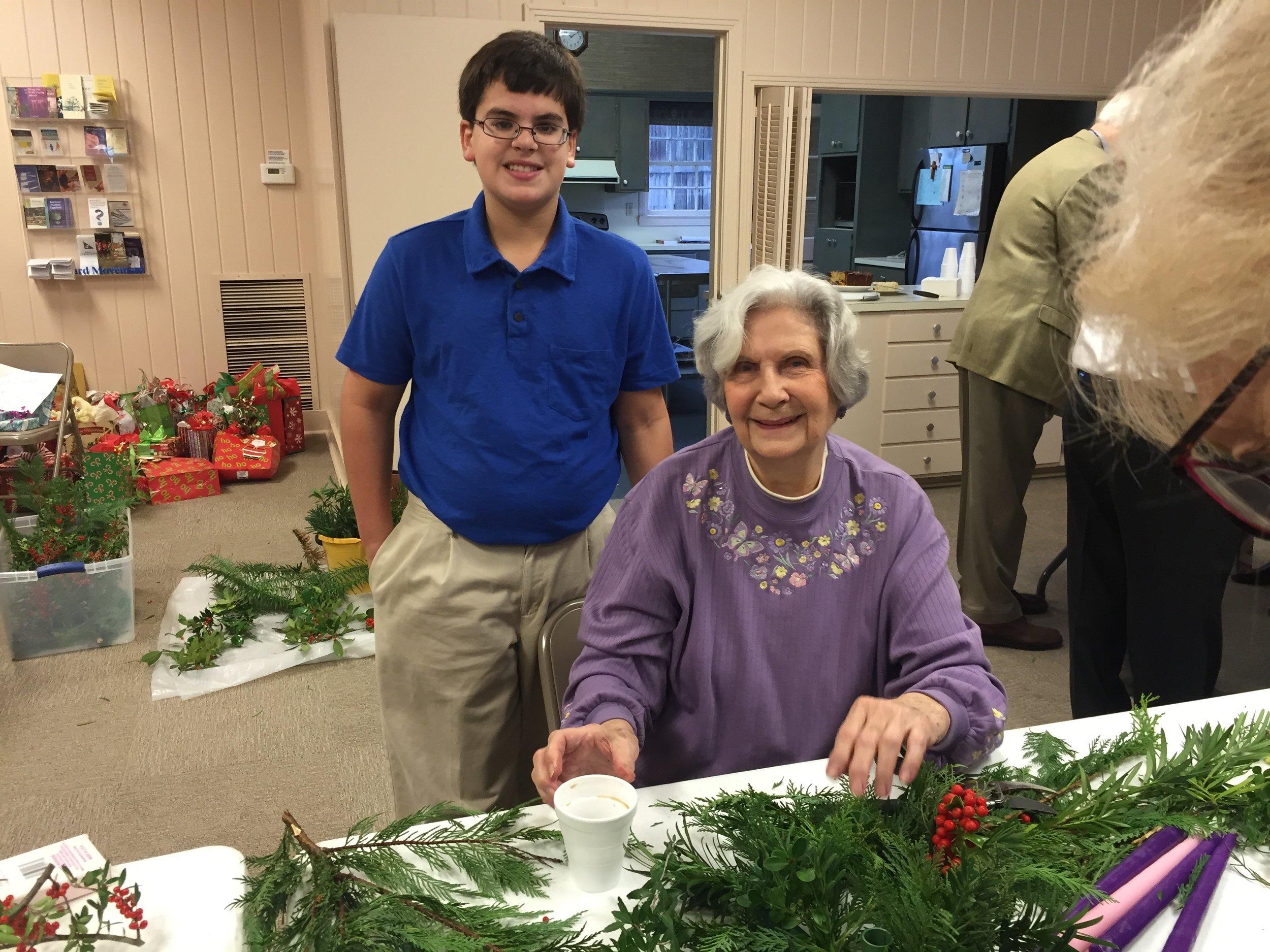 Making Advent Wreaths During Sunday School
