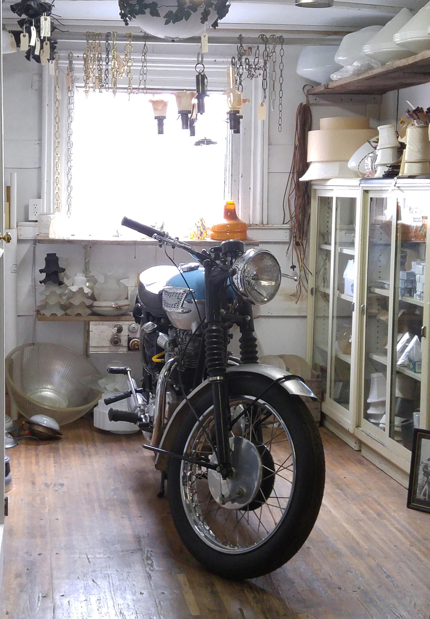 Restored 1963 Triumph Bonneville motorcycle.