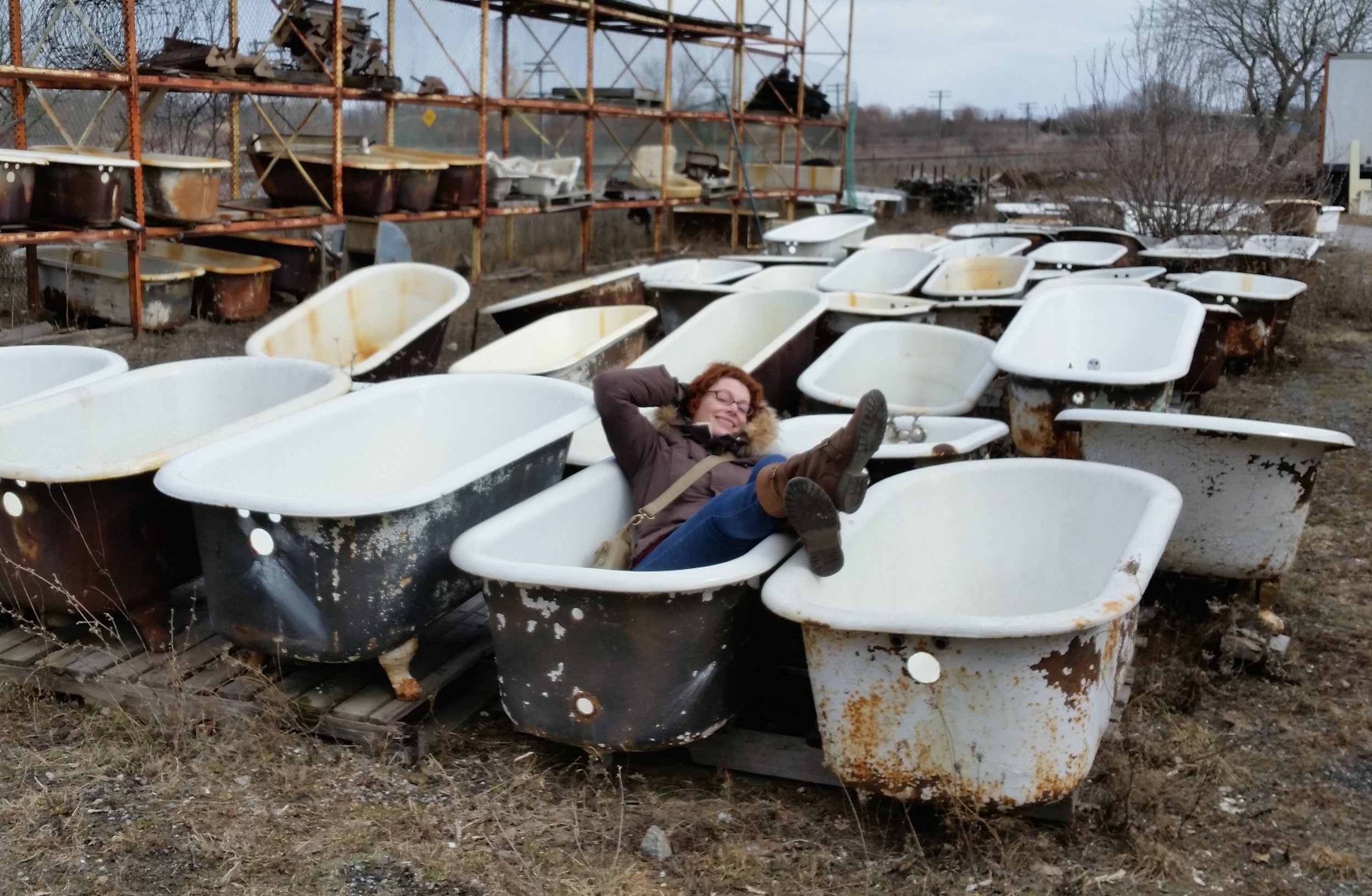 Sarah trying out the cast iron bath tubs. This one felt a little small.