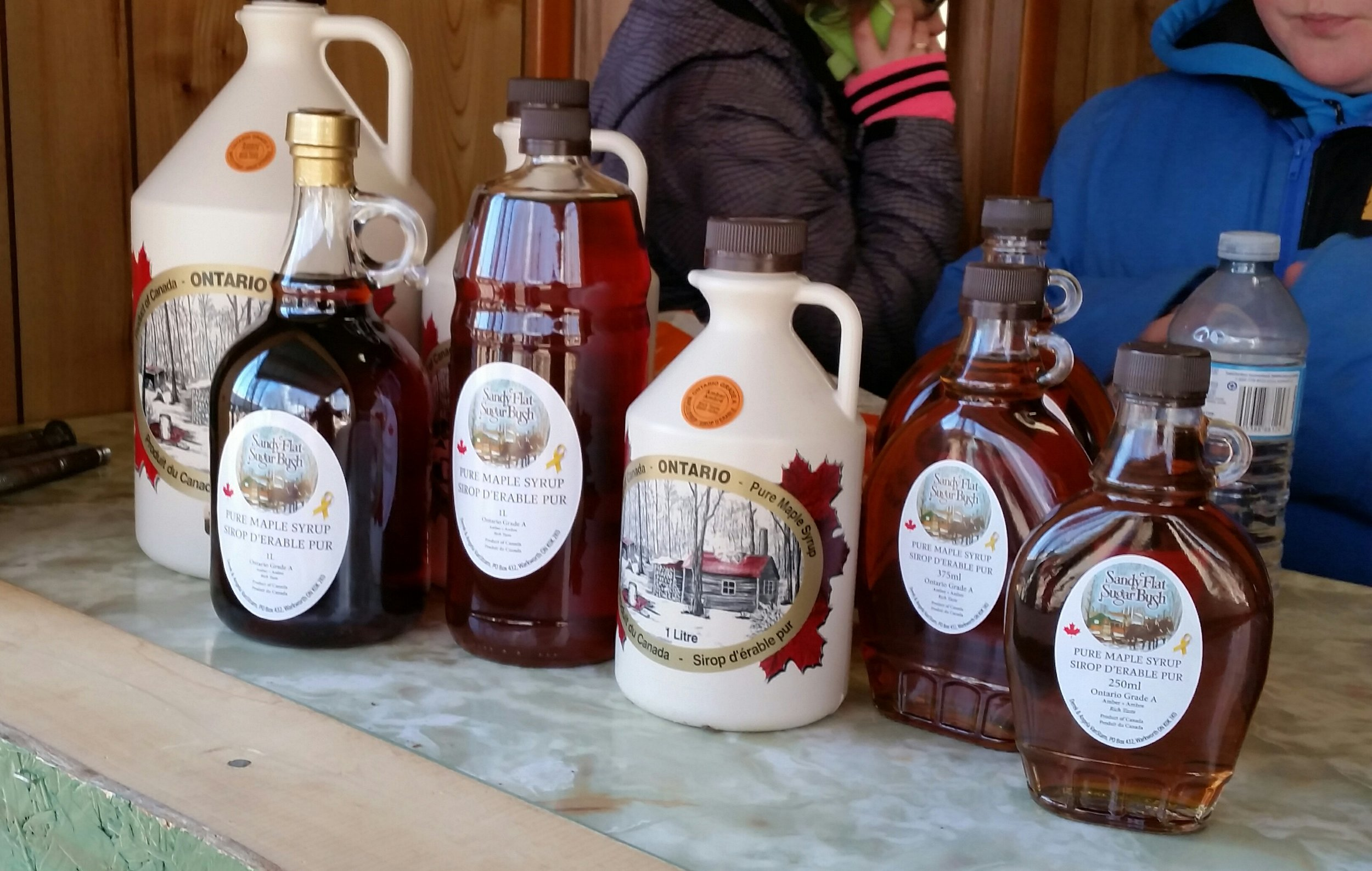 Lots and lots of maple syrup from the Sandy Flats Maple Sugar Bush.