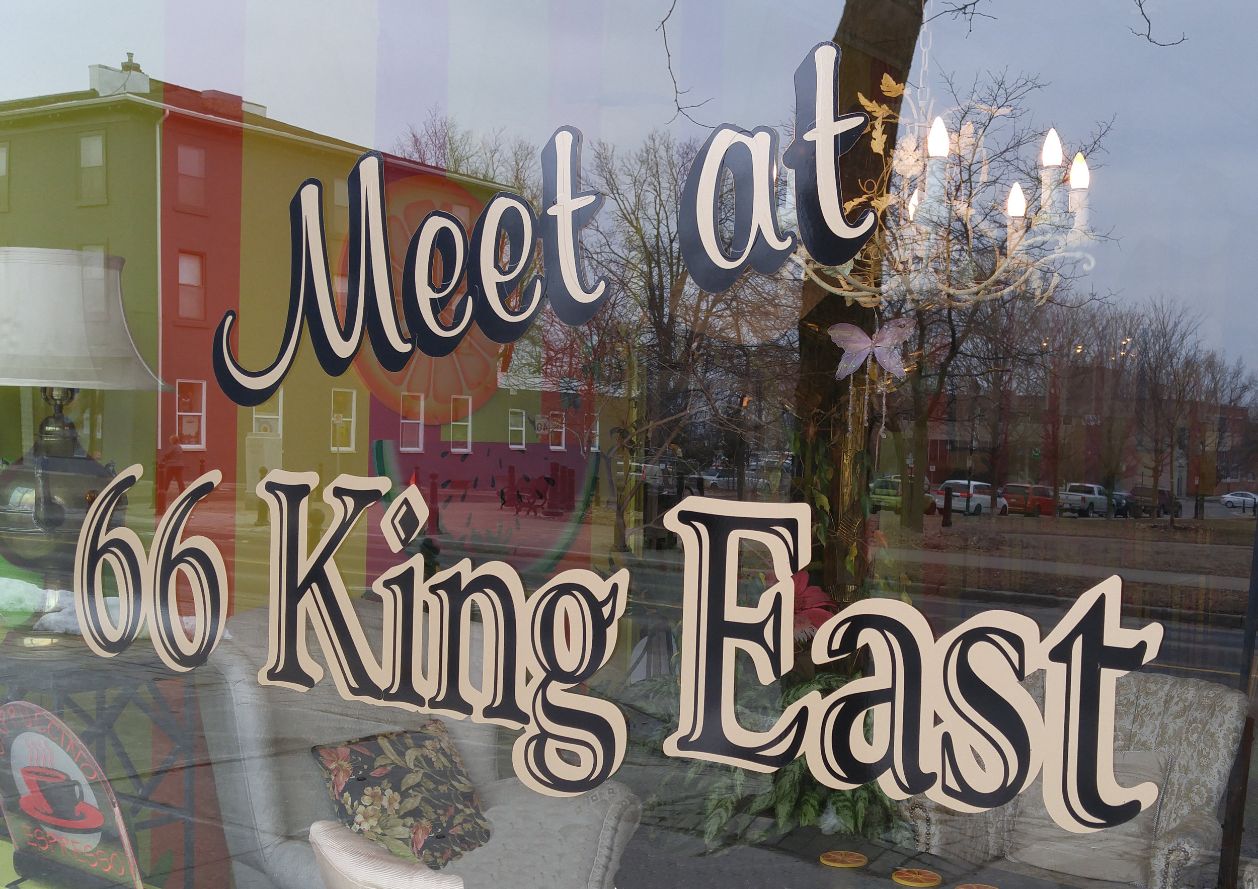 The front window of  Meet at 66 King East  cafe in Cobourg, Ontario.