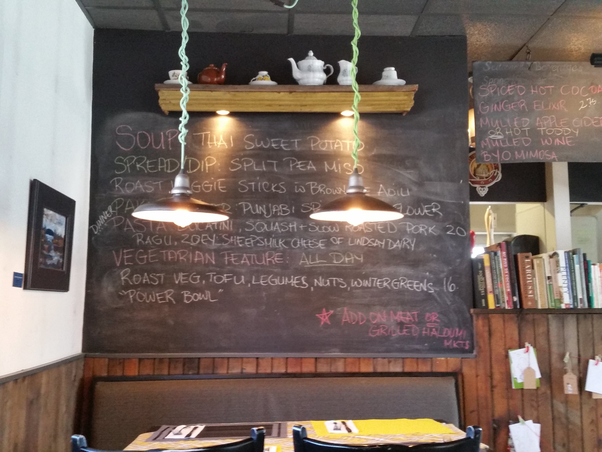 Chalkboard menu of the current Specials.