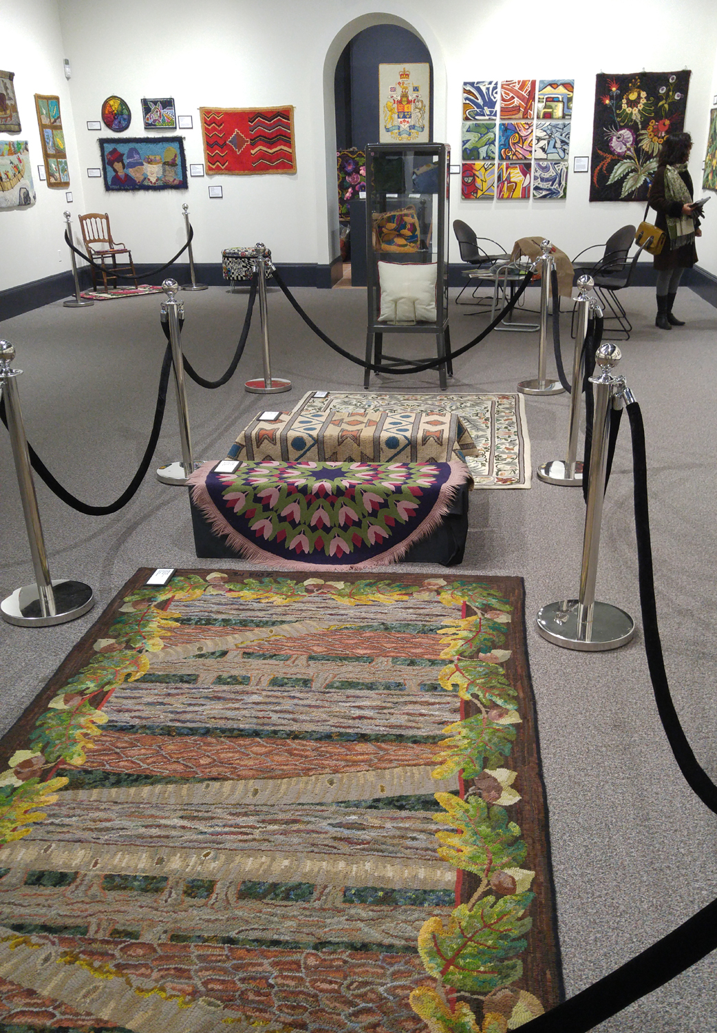 One of the displays of hooked rugs at the AGN.