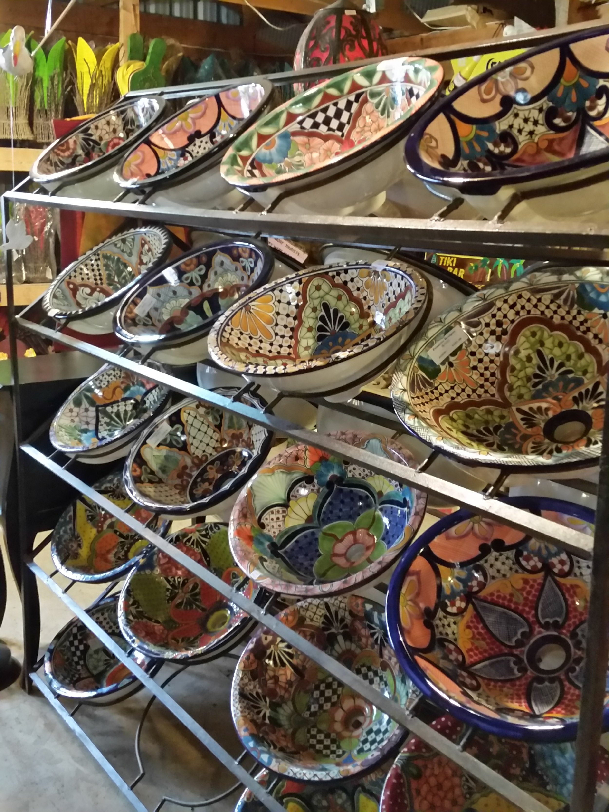 Hand painted Talavera vessel sinks from Mexico.