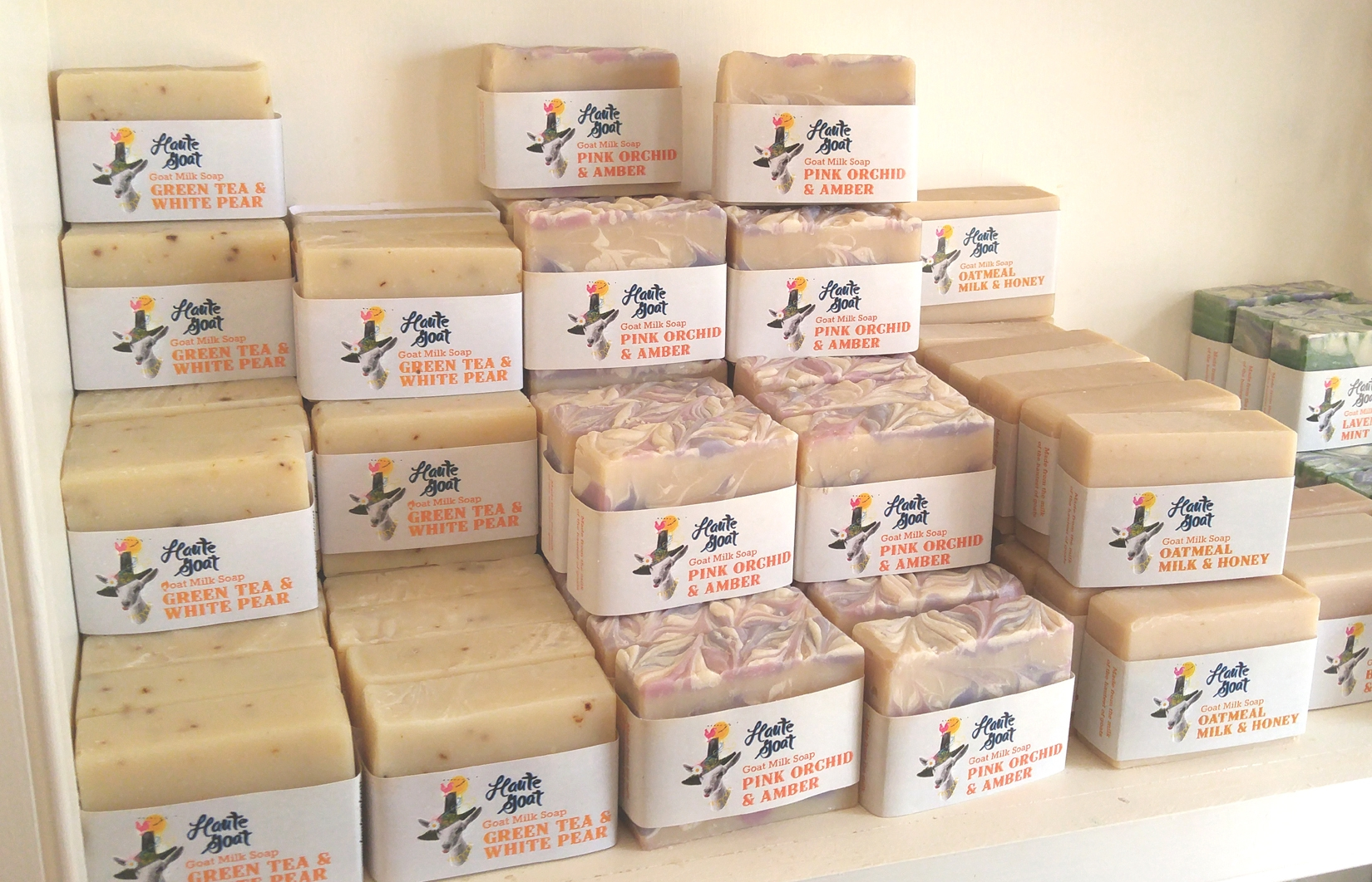 Some of the goat's milk soap for sale at the the Haute Goat shop.