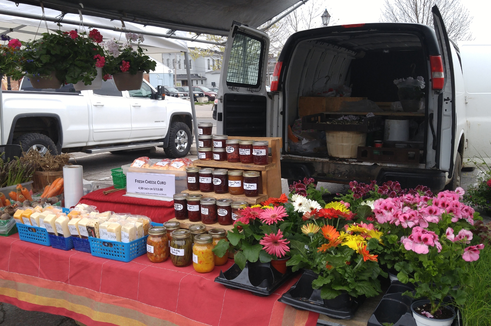 Flowers, jams, cheese and fresh produce.