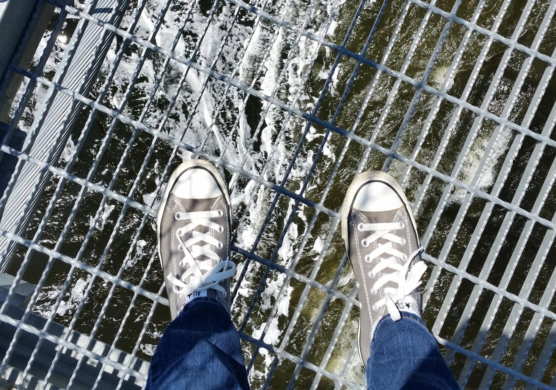 The water rushing below me....