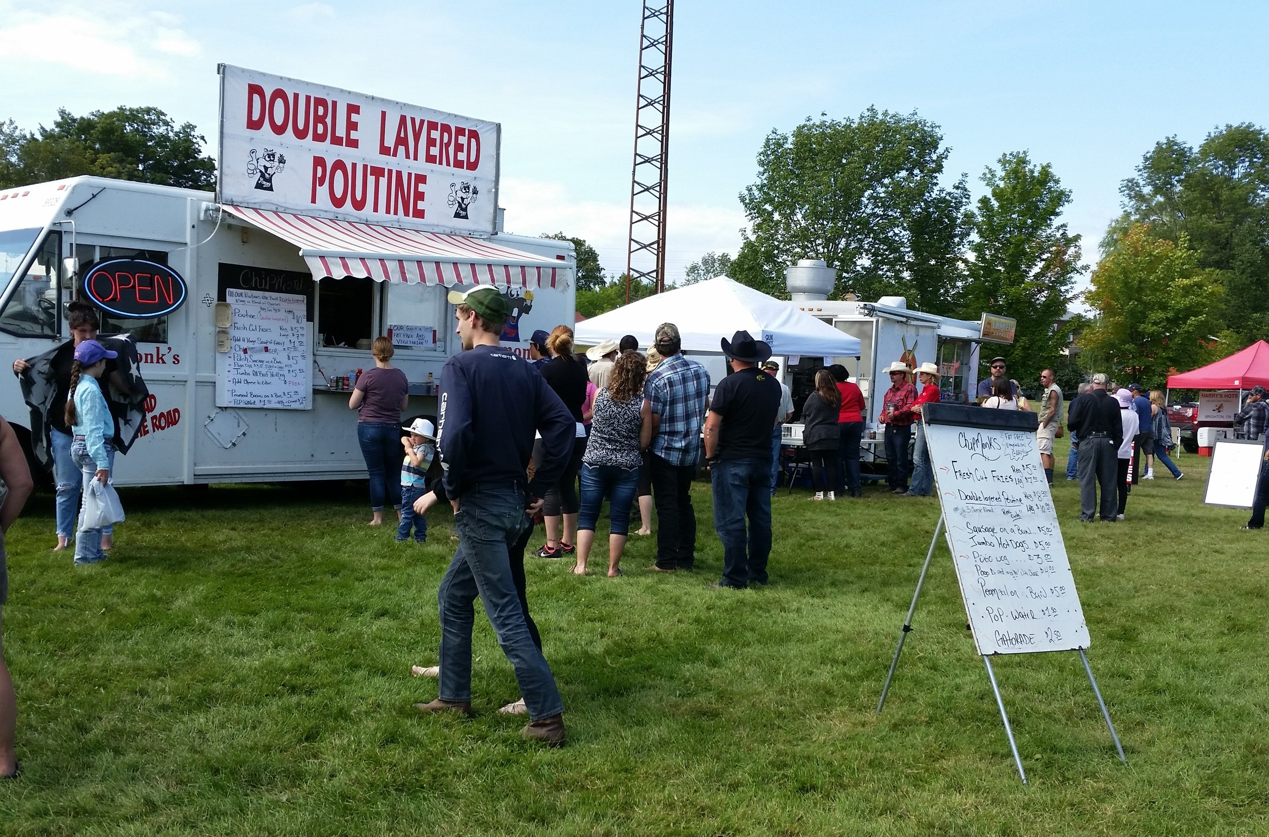 Some of the food and merchandise vendors at the fairgrounds.