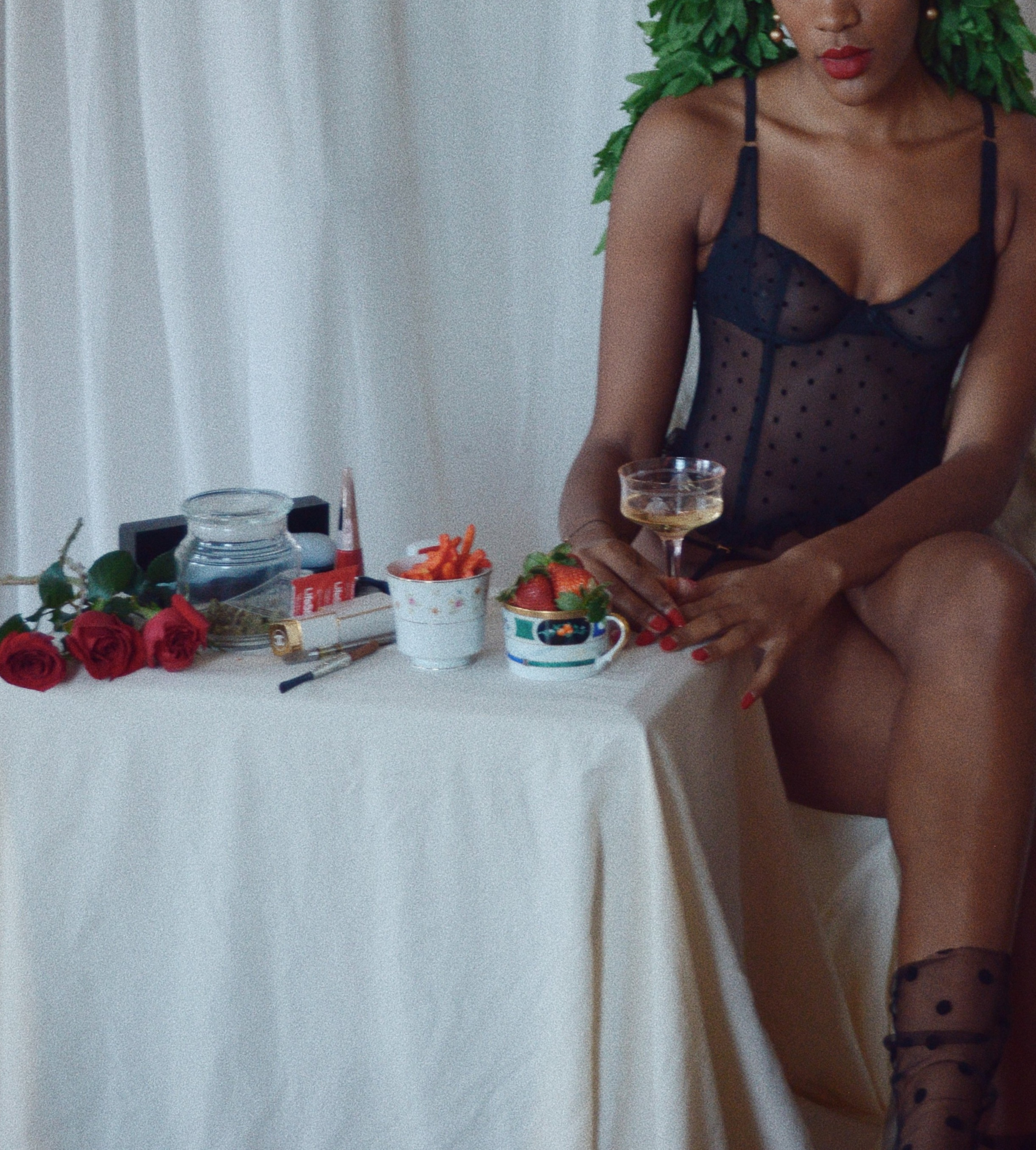 A little Savage Fenty lingerie and wine while getting ready - Subscribe to Juana Zine here