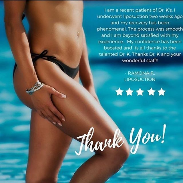 A FIVE STAR 🌟  review from a very happy #Liposuction patient. 😍 Ramona you are too kind and we are honored to see how happy you are with your results. #DrKPlasticSurgery⁣⠀ ⁣