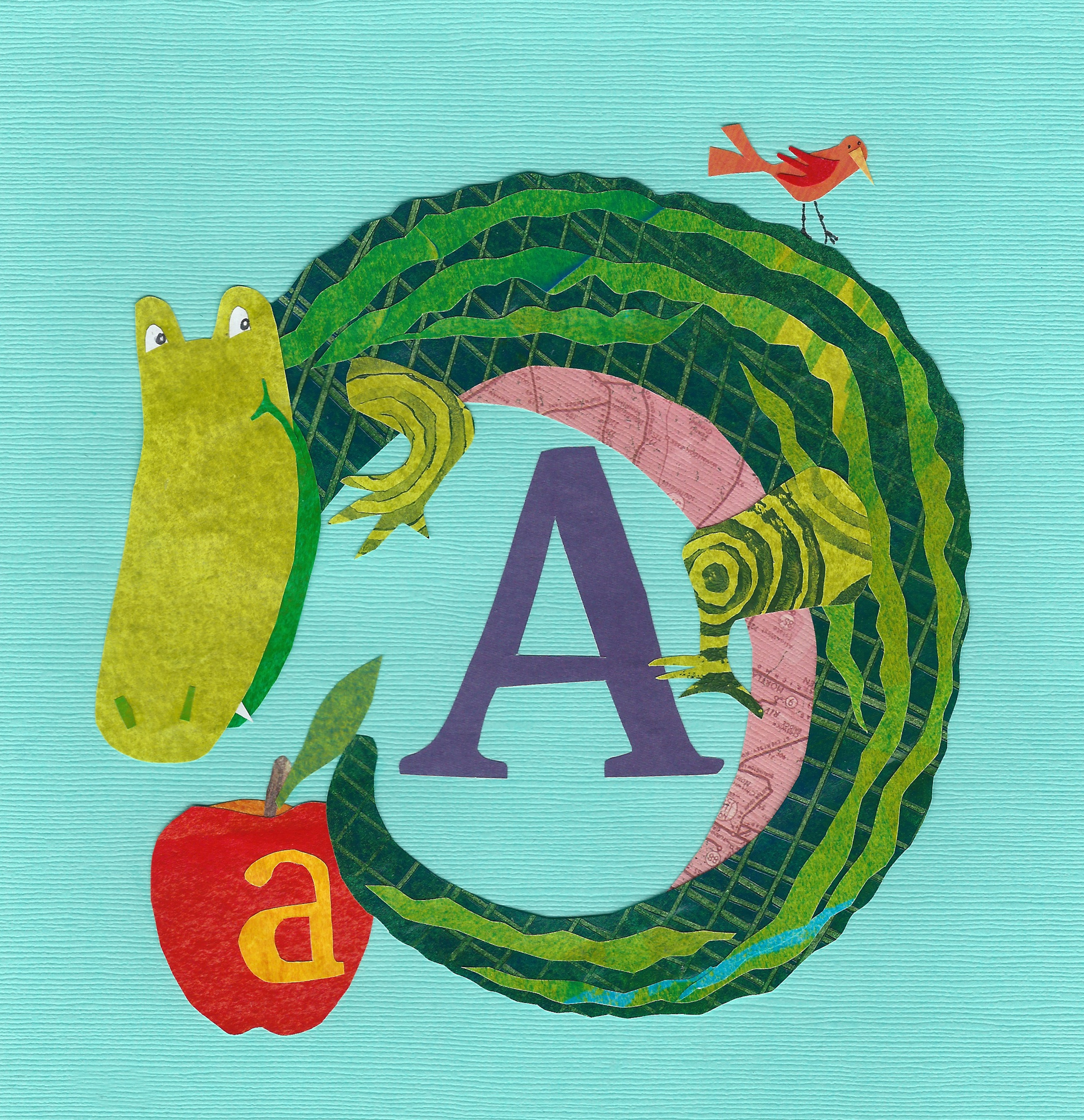 A is for Alligator and Apple.  Cut paper 8x8
