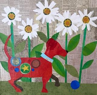 Red Dog  collage  16x16