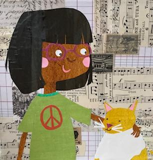 Girl with her cat Friend  collage  8x8