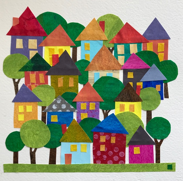 """A Colorful Neighborhood"" 7x7 Cut Paper    Melissa Babcock Saylor"