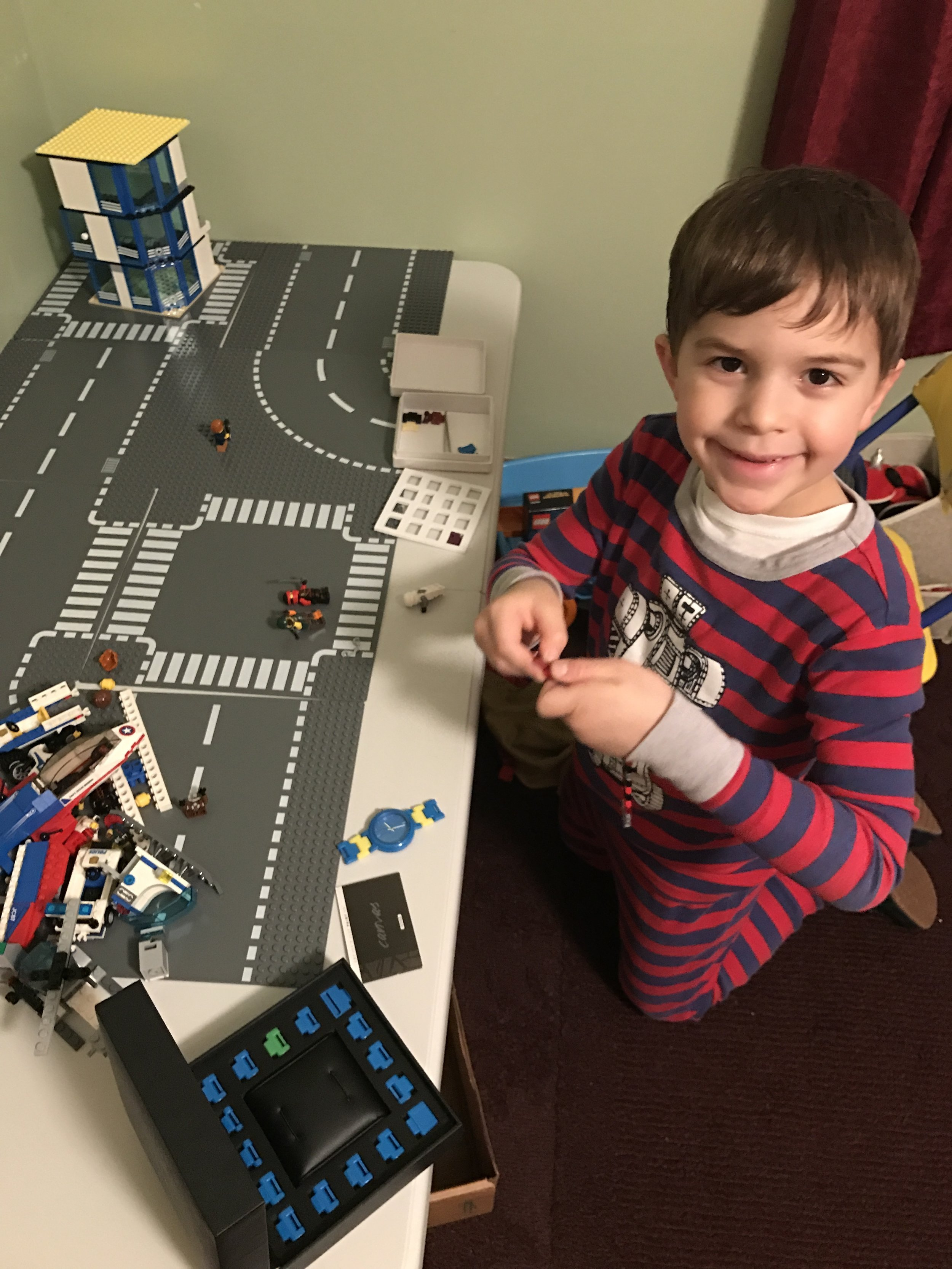 William, age 7, is my adorable and creative son who is obsessed with Legos, Superheroes, and his new kit from Mosaiqe. The kit is FREE with purchase of a Mosaiqe watch from the web.