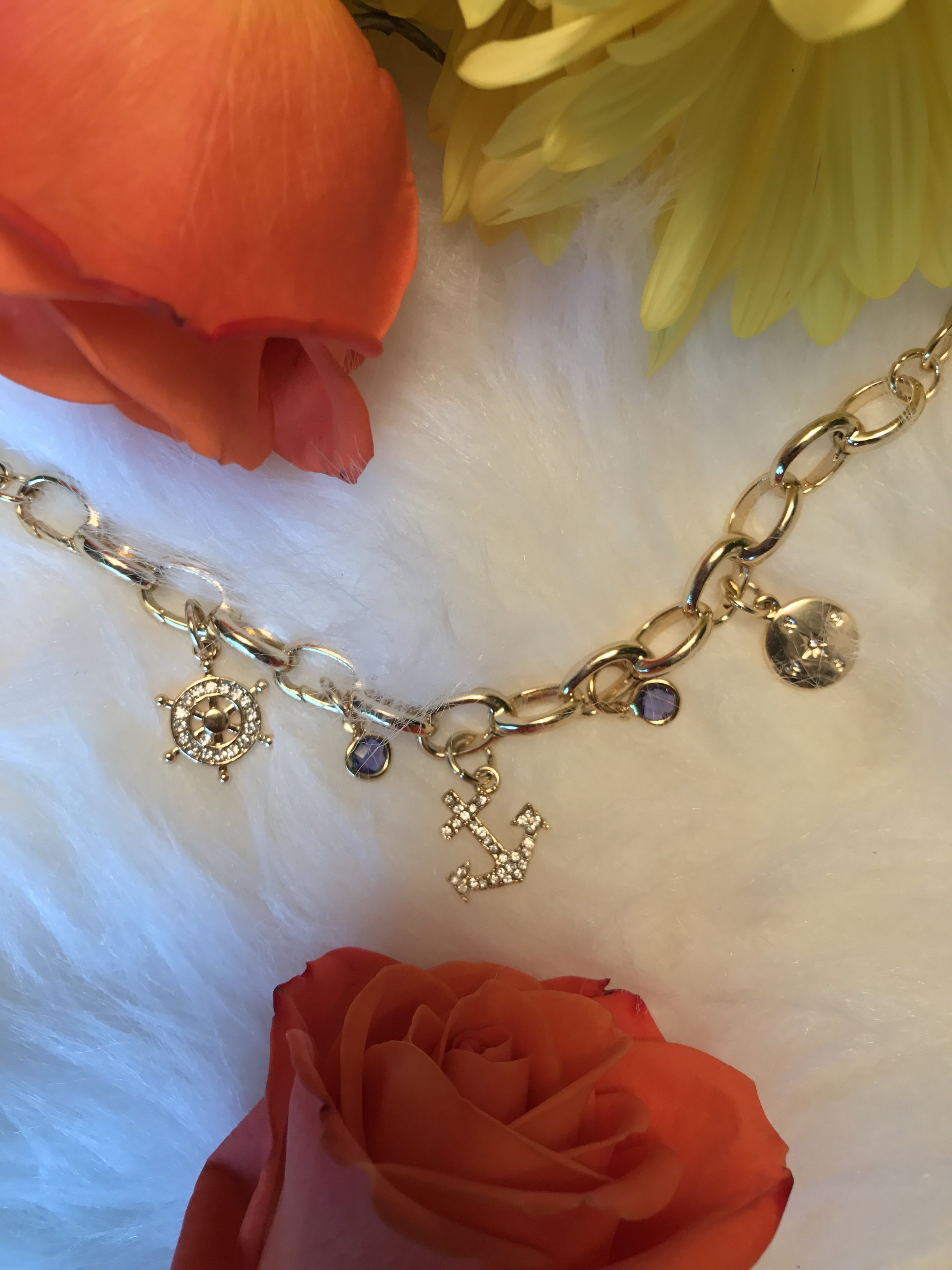 """This is the """" Hope   Anchors   the   Soul   Classic   Charm   Bracelet """" from  Lovita   &   Co . which I first showed you  here  when I wore my """" Love   to   Shop   Classic   Charm   Bracelet ."""" I promise you will see them both again and I will tell you why the anchor symbol has special meaning to me ( it's not just because I'm a RI girl) !"""