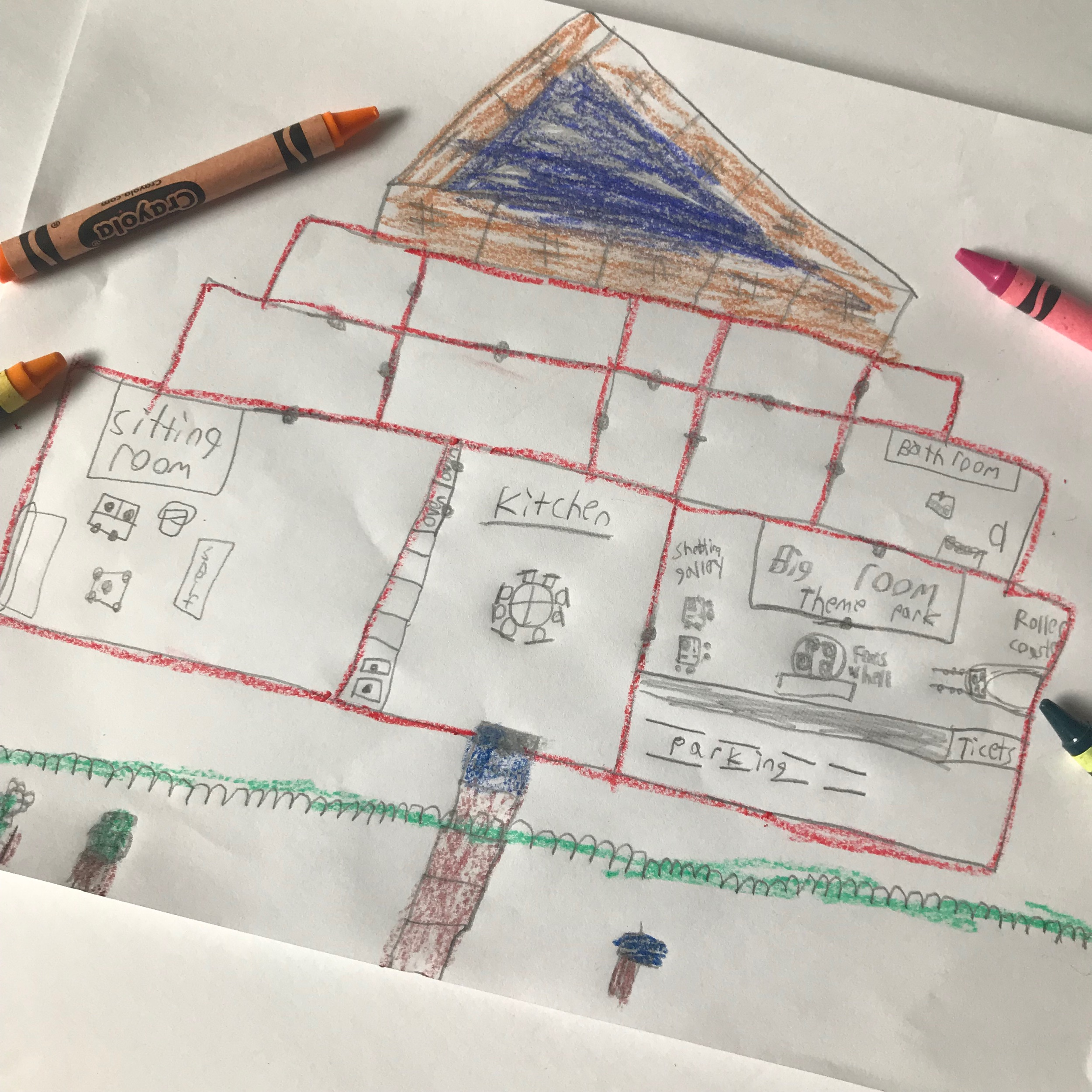 William's House Design: The bottom right hand section is the 'Diary of a Wimpy Kid 'inspired theme park he decided to include in his house.