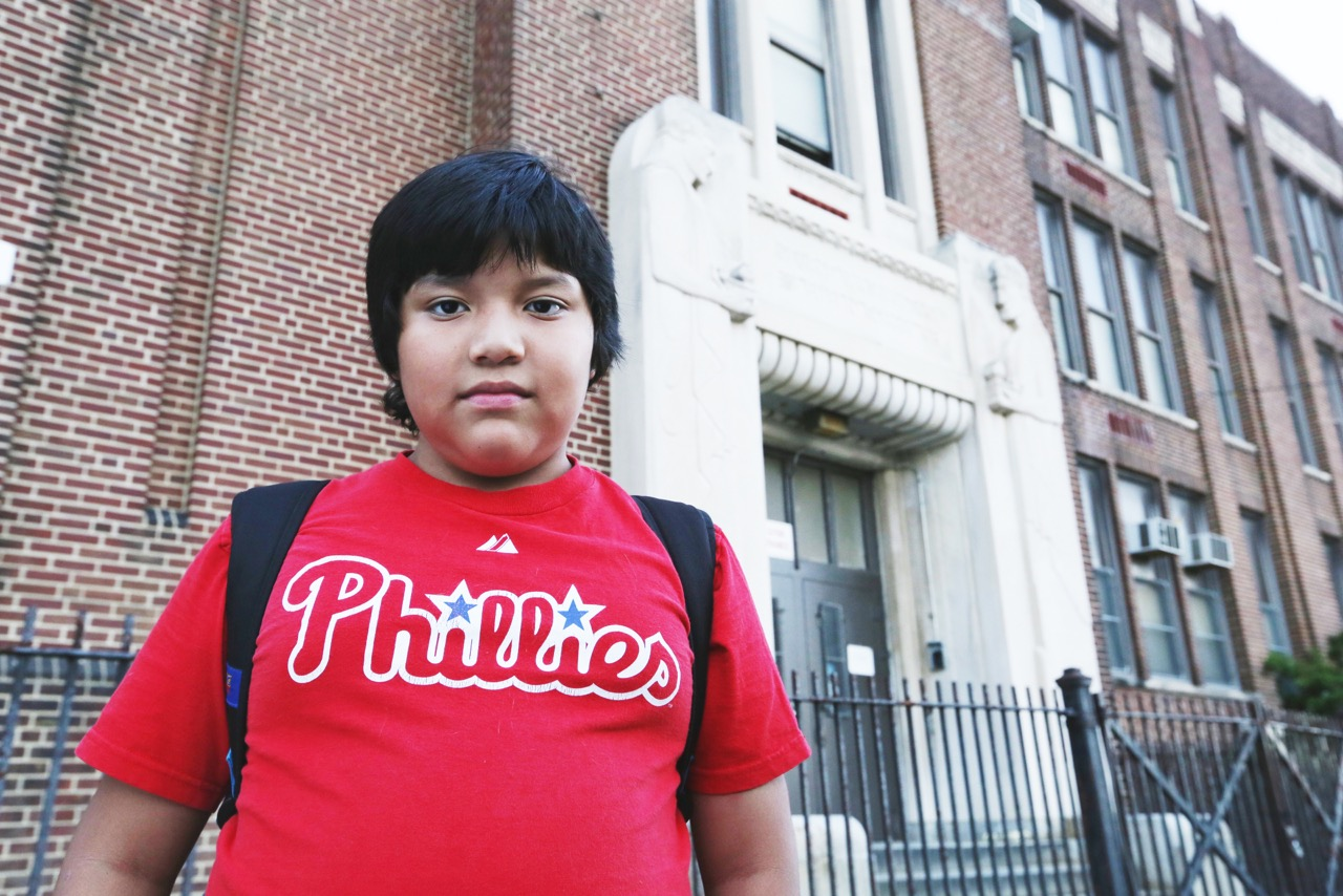 Boris Zhinin, first day at new school after his old school was closed, Philadelphia September 2013.jpg