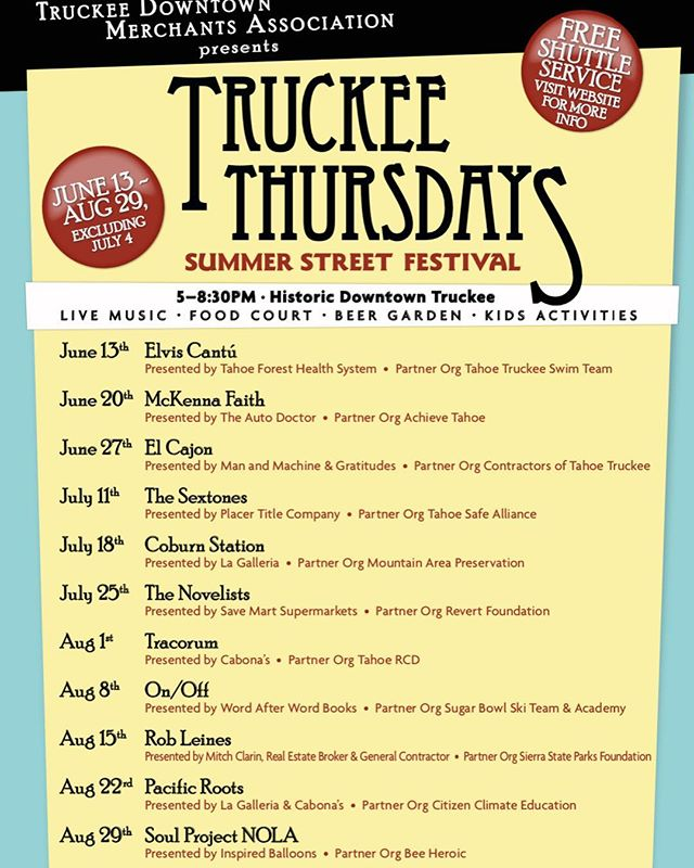 Which band are YOU the most excited for? • #TruckeeThursdays is less than a week away! • #DowntownTruckee
