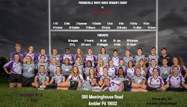 Saturday's a rugby day! Come cheer on White Horse Women tomorrow at 10am for their match against Temple at their Ambler campus! 💪🦄 #rugby #Phoenixville #temple #philadelphia #workworkworkworkwork #saturdaysarugbyday #practice #practicemakesperfect #delco #pottstown #kingofprussia #workhardplayhard #hugitout #unicorns #horsepower #makefriends #fitness #womeninrugby #womensupportwomen #15as1 #50somethingas1
