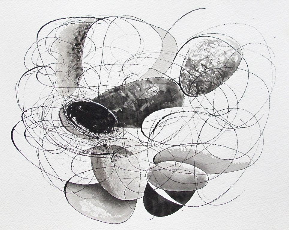 """Reunion III  , 2012 Ink on Paper 14"""" x 11"""""""