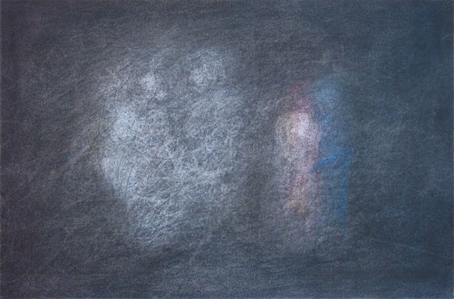 """With Them At The Time  , 2014 Graphite & Oil Pastel on Paper 19"""" x 12"""""""