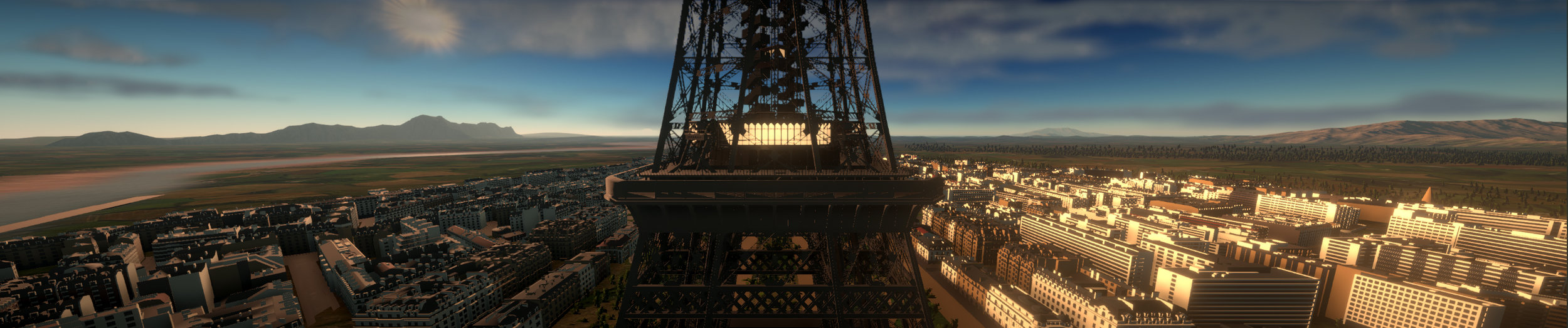 View of the Eiffel Tower just after take-off.