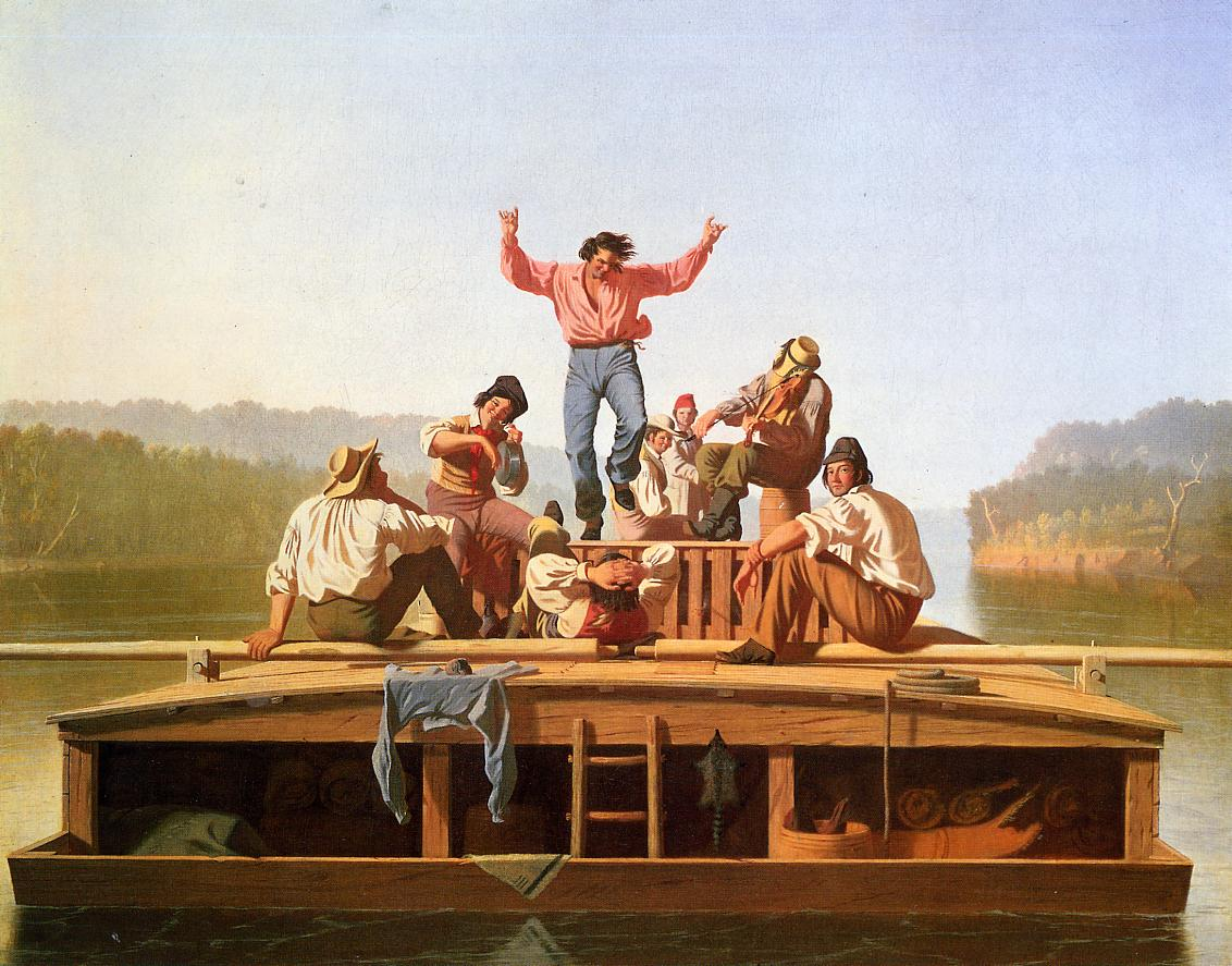 George Caleb Bingham (American, 1811-1979)  The Jolly Flatboatmen , 1846 (Private Collection)  (click to enlarge)