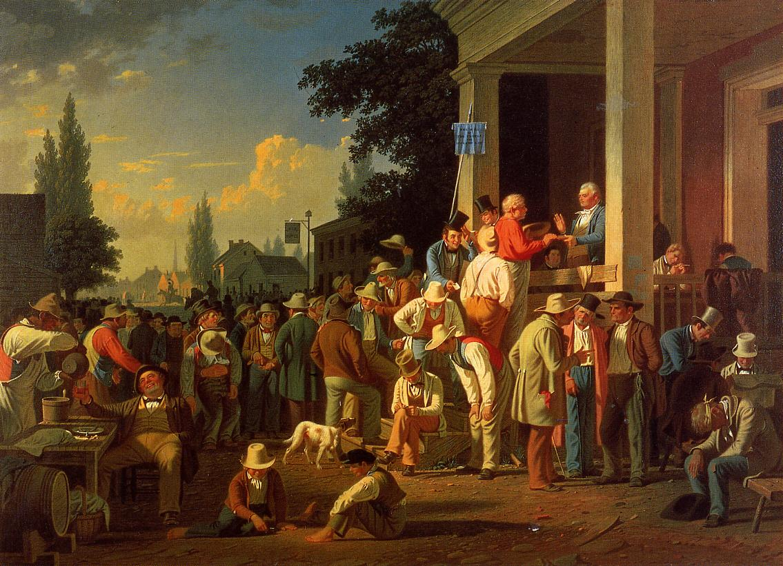 George Caleb Bingham (American, 1811-1879)  The County Election (no.2) , 1852 (Private Collection)  (click to enlarge)