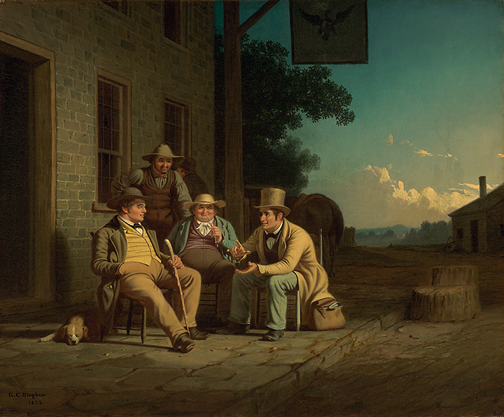 George Caleb Bingham (American, 1811-1879)  Canvassing for a Vote , 1851-1852 Oil on canvas, 25 1/4 x 30 1/2 inches (The Nelson-Atkins Museum of Art, Kansas City, MO) (Purchase: William Rockhill Nelson Trust, 54-9) (Photo: Jamison Miller)  (click to enlarge)