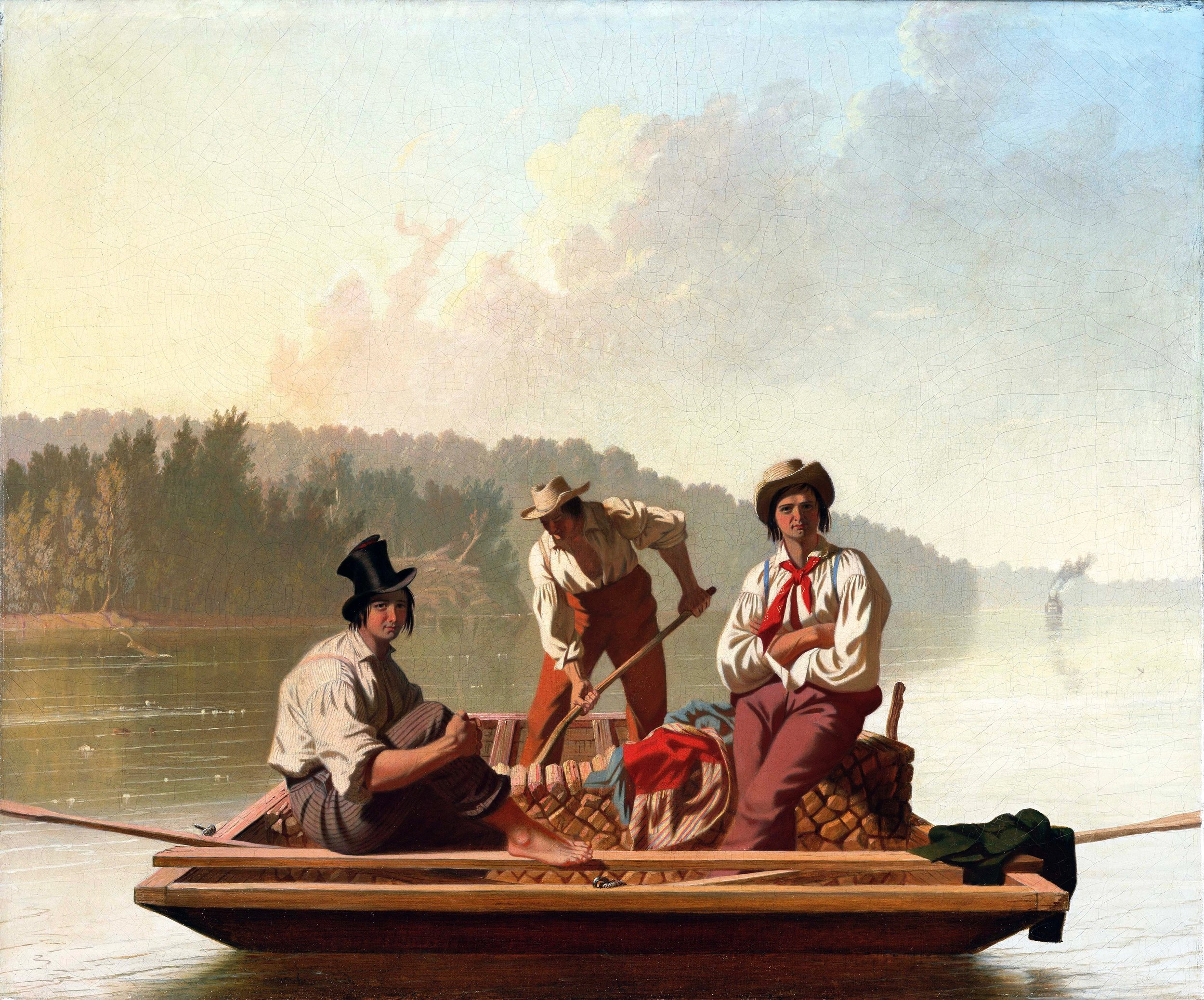 George Caleb Bingham (American, 1811-1879)  Boatmen on the Missouri , 1846 (Fine Arts Museums of San Francisco, San Francisco, CA) (Gift of Mr. and Mrs. John D. Rockefeller 3rd, 1979.7.15)  (click to enlarge)