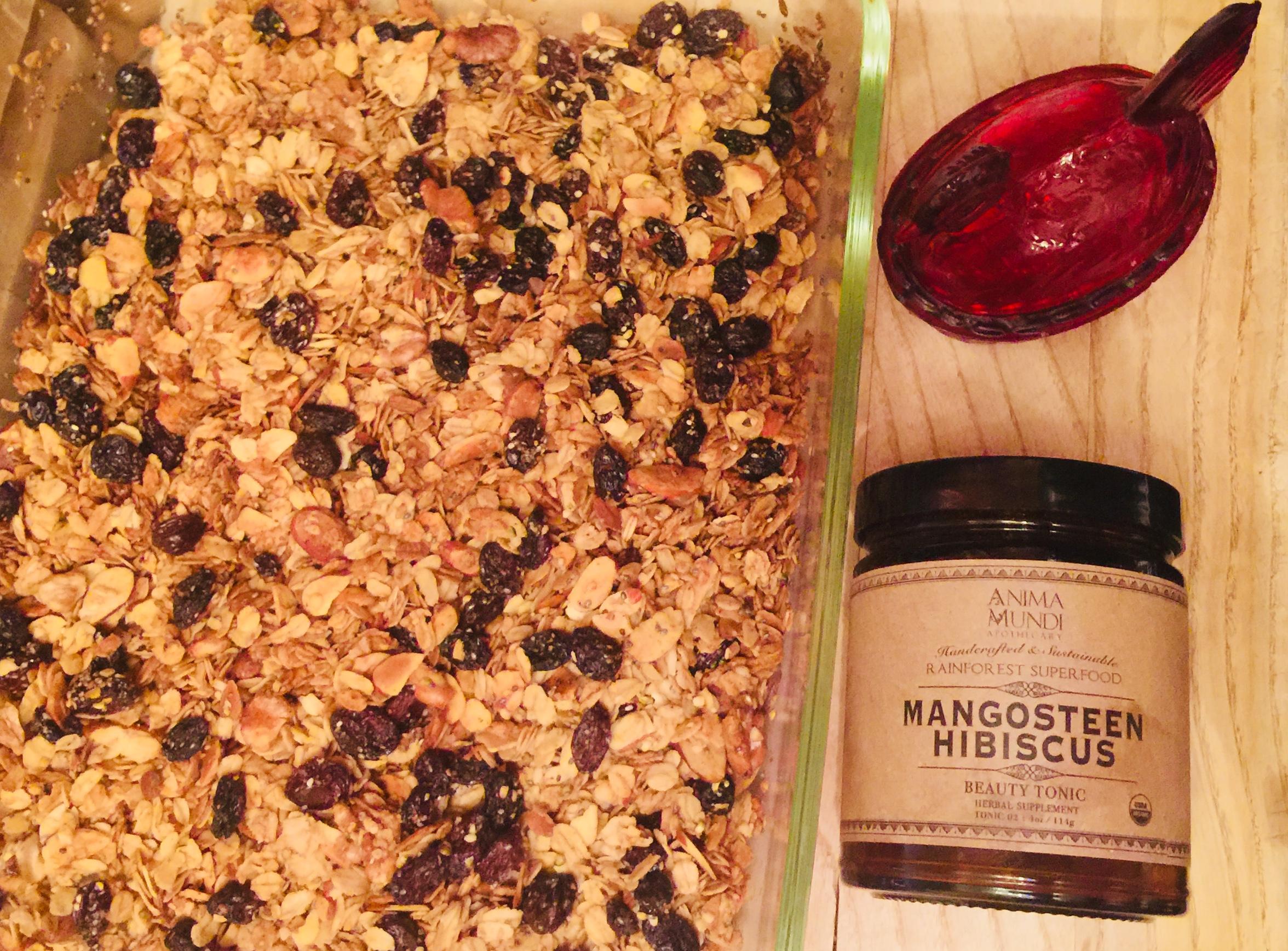 Mangosteen + Hibiscus Homemade Granola - See recipe