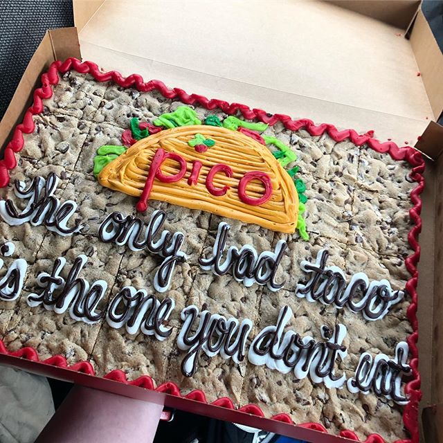 Phew! What a night! I know I've said it before, but I believe we have THE best fans! 🙌🏻 Even with the chilly weather you all ventured out and got your first Pico fix of the season! 🌮🌮🌮 We even received a Mrs. Fields cookie cake with the best recreated Pico logo! 🍪🍰 Thank you so much. You are extremely appreciated! 🧡💛💚💙 #pico2019 #bestfansever #tacoseveryday