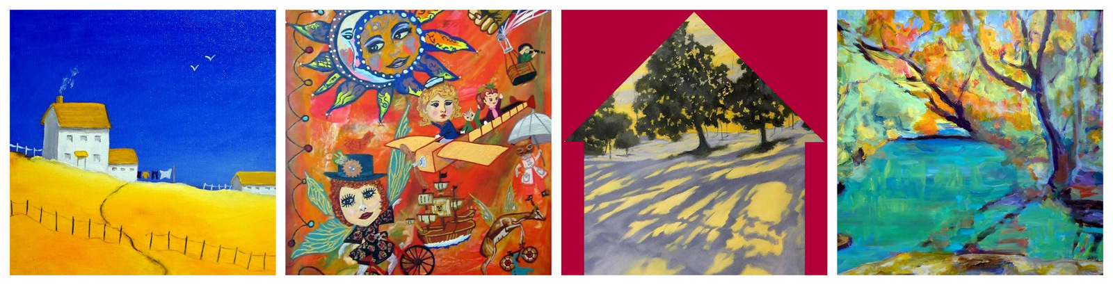Details from the artwork of: ANN WHISENANT, MICHELE HAMILTON, ANNE BEVAN and BARBARA FROHMADER