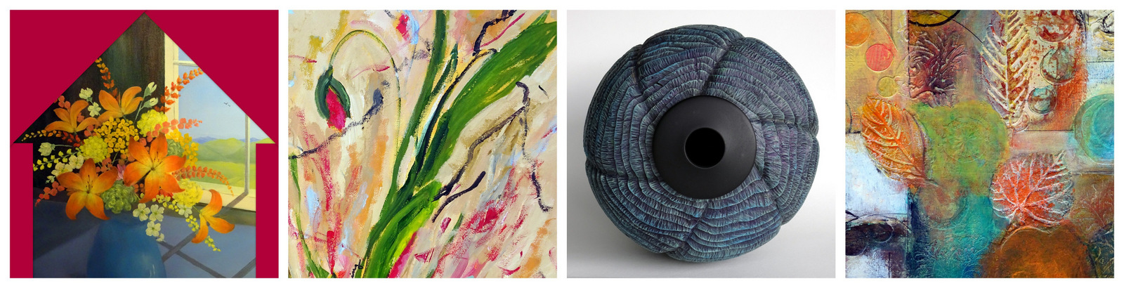Details from the artwork of: ANN WHISENANT, SUSAN HANNING, STEVE MILLER and KAREN PAQUETTE.