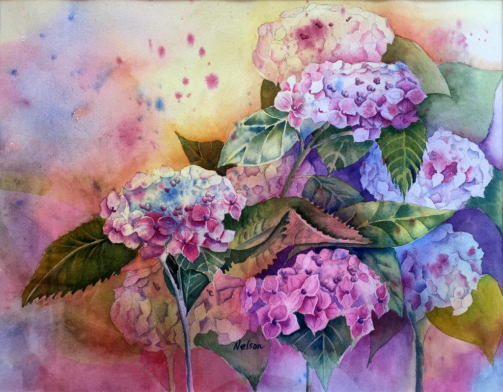 07-Kathy Nelson, Watercolor, Hydrangea-Nature Poem-003.JPG