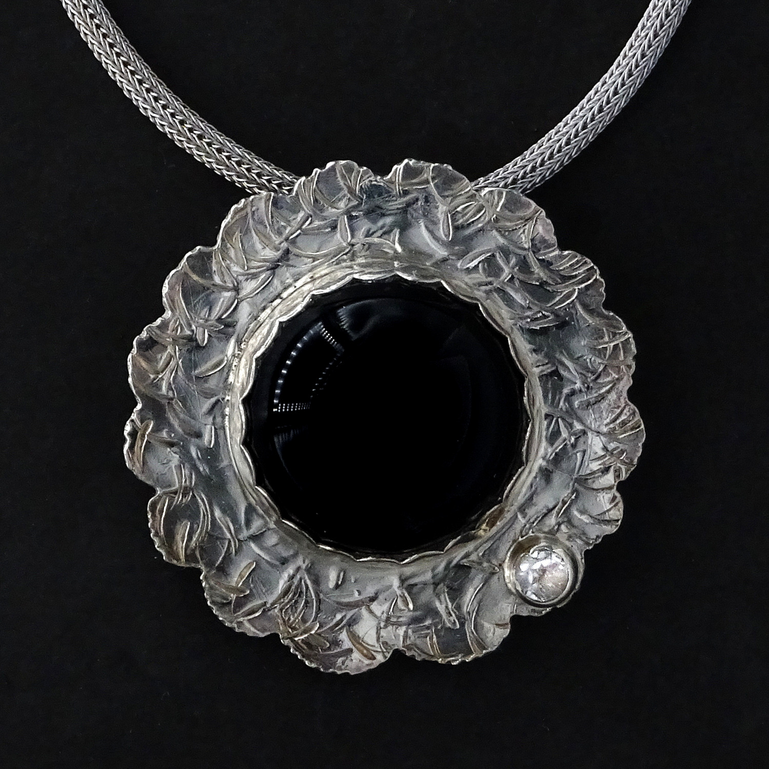 1-Pendant with Black Stone with Diamond Accent, Handcrafted Silver Necklace, Sylvia McCollum-003.JPG