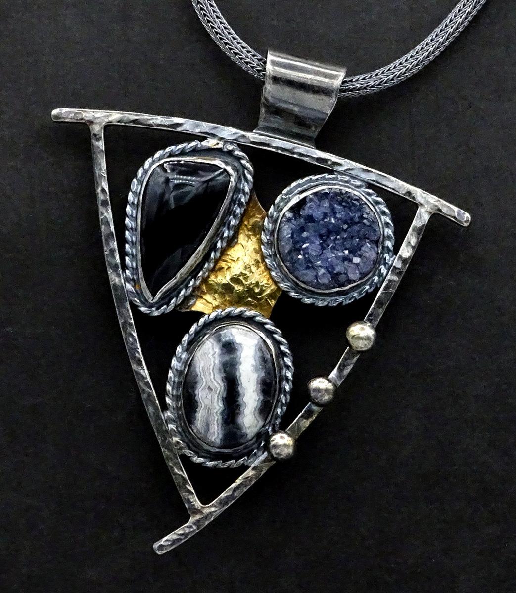 2-Handcrafted Silver& Stone Geometric Pendant, Sylvia McCollum-1-003.JPG